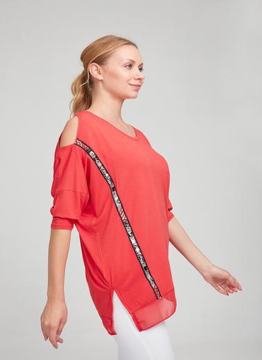 Optique Knitwear Düz Bisiklet Yaka Yarasa Kol Penye Bluz Mercan